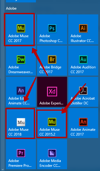 Two versions of Adobe Muse in ...