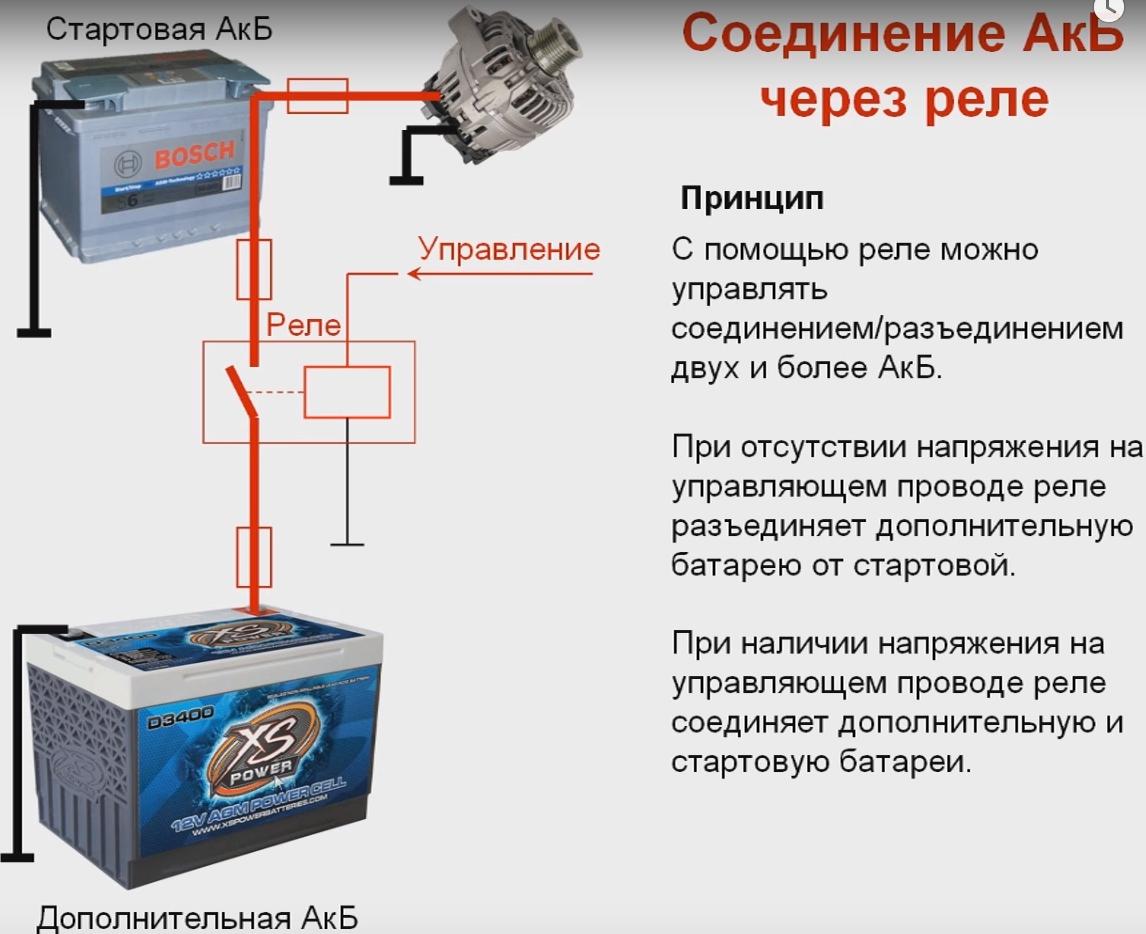 Схема подключения 2 аккумуляторов фото 703