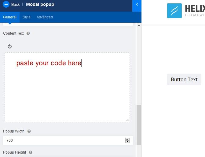 Modal popup - RAW HTML display