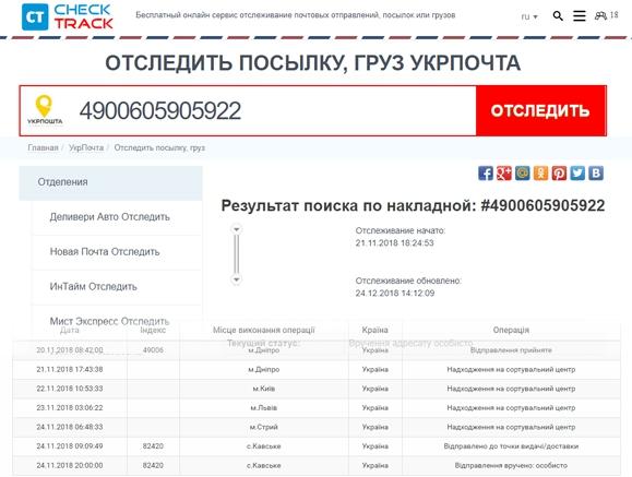 Онлайн сервисы Check-track.com и Укрпочта